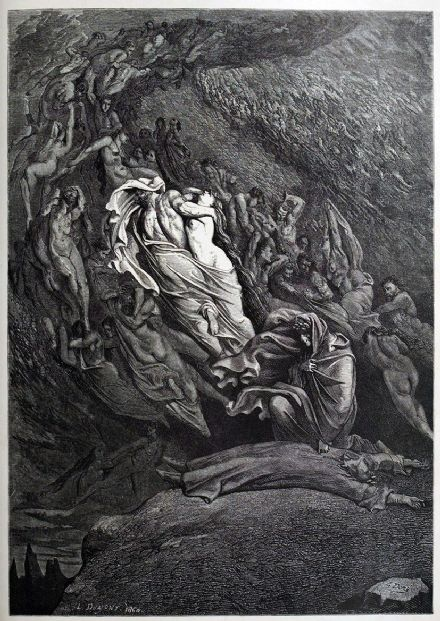 Dore, Gustave: Fell to the Ground (Illustration from Dante's Inferno) Fine Art Print.  (3973)